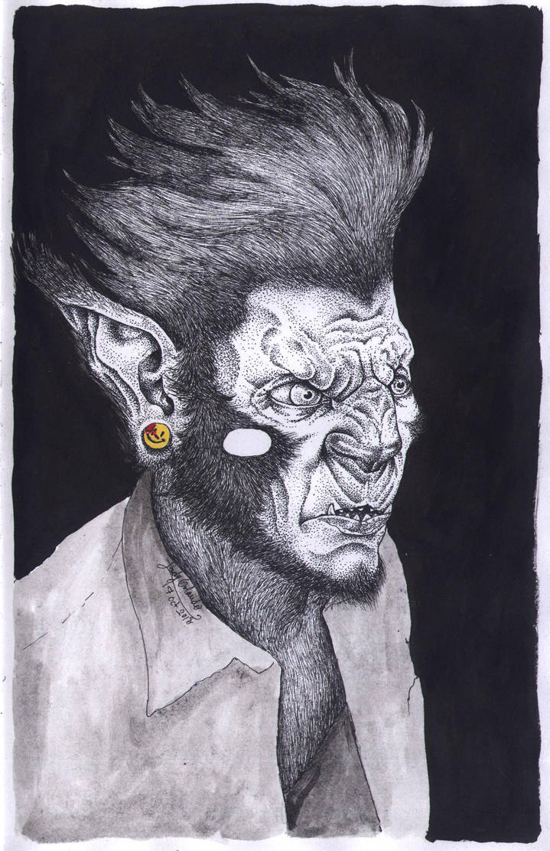 Hipster Werewolf by LadyOrlandoArt