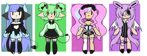  Adoptables Pastel goth and demons 2/4 OPEN  by OpalBlitz