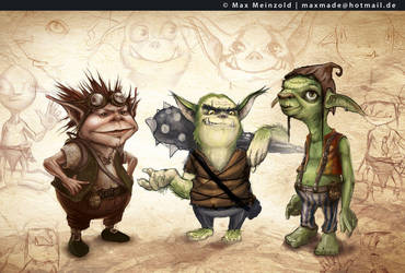 Goblin Character Sketches by MaxMade