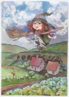 Landscape with Little witch by isletree