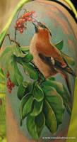 realistic bird tattoo by Remistattoo