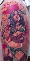 funky tattoo of girl warrior by Remistattoo