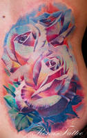 color rose tattoo by Remistattoo