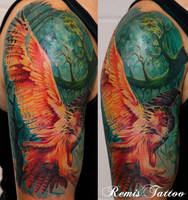 color owl tattoo by Remistattoo