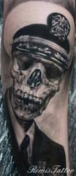 black and grey skull portrait tattoo 4 by Remistattoo