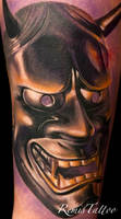 bronze hannya mask tattoo by Remistattoo