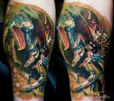 realistic lobster tattoo by Remistattoo