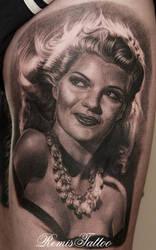 Rita Hayworth tattoo by Remistattoo