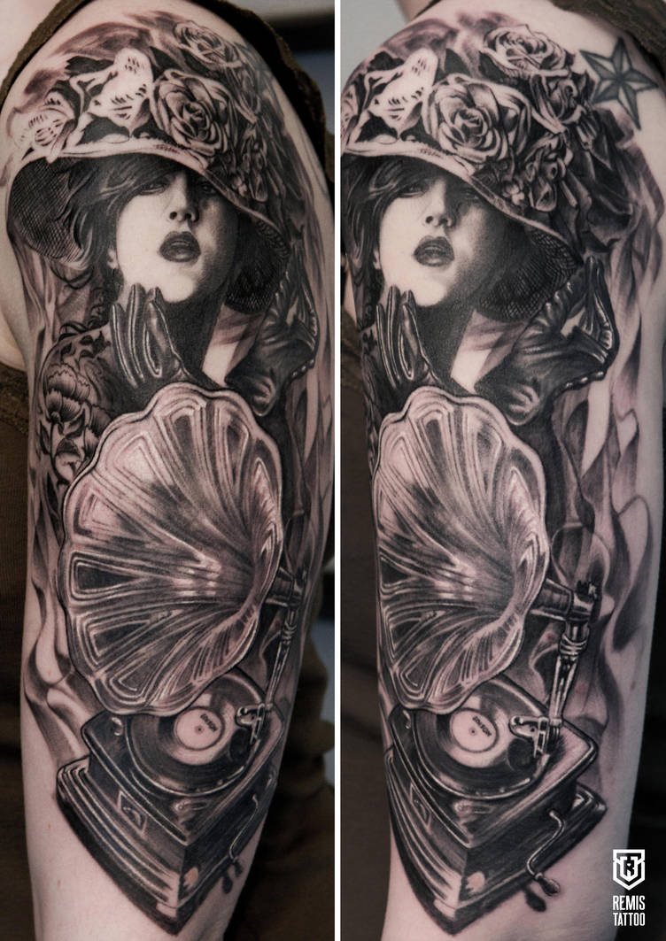 Realistic girl with gramaphone tattoo by Remistattoo