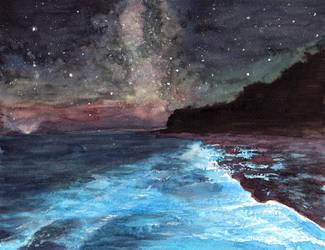 Bioluminescent Algae Under the Stars by HaleyGottardo