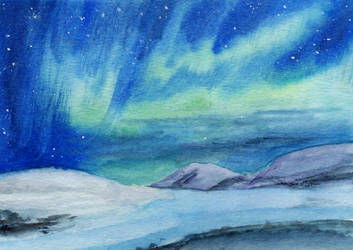 Aurora Borealis and Ridges by HaleyGottardo