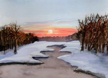 Early Winter Sunset in Watercolor by HaleyGottardo