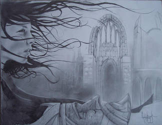 Arwen over Aragorn's Tomb by book-illustrator