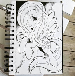 Inktober Day 17: Fluttershy by Shellsweet