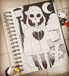 Inktober Day 31: Skeleton Girl by Shellsweet