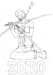 Zoro's Battle Pose -Sketch by AuroraDarknet