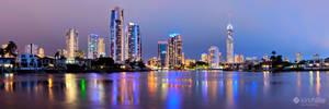 Gold Coast City Skyline Night Panorama by Furiousxr