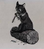 Folk musician cat by yulia-hochulia