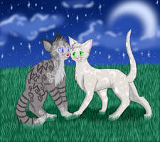 Cats-Warriors: Jayfeather x Halfmoon by Lunatic-Mo-on