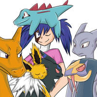 Shady and her pokemons by Lunatic-Mo-on