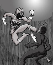 Power Rangers Dino Charge: Face kick by peter-schaaff