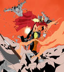 thor versus Ultron(s) by Dennyboy87