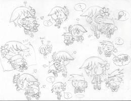 Bin and Flake Sketches by KaylaTechHeart