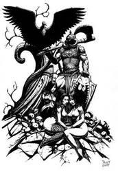 Frazetta DEATH DEALER AND ANIMAL WOMEN by PATTY by Sean-Patty