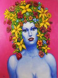 FLOWER GIRL 2 Original Contemporary Art PATTY by Sean-Patty