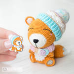 Fox Alice enamel pin and toy (crochet pattern) by AradiyaToys
