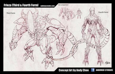 Frieza 3rd and 4th Form Concept Art Sketch by AndiMoo