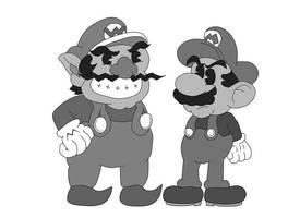 Mario and Wario 1930's style by ClassicSonicSatAm