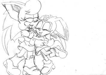 Sapphire Sonic and Cream sisters hug by ClassicSonicSatAm