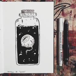 Inktober day 18: Bottle by Zerda-Fox