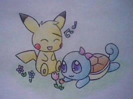 Pikachu and Squirtle by Nikaidu