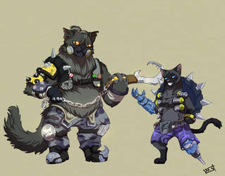 junkpelt and roadfang{crossover/Overwatch/Warrior} by sabrinasan00
