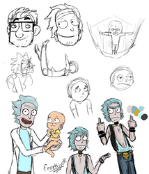 Rick and Morty Sketch Dump by ferretlivvie