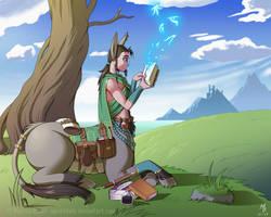Reading Break - DnD: Elteres, Centaur Wizard by Spritedude