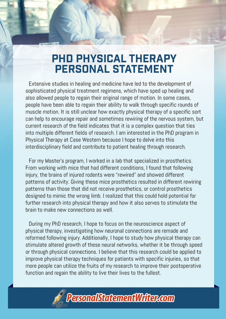 phd physical therapy personal statement sample by ukpswritersamples