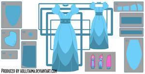 PB layered blue dress cosplay design draft by Hollitaima