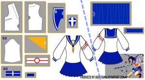 Tokiko Tsumura Sailor Fuku Pattern Draft Design by Hollitaima