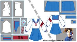 Haruhi Suzumiya Sailor Fuku Pattern Draft by Hollitaima