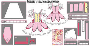 Madoka Kaname ~Magical Dress~ Cosplay Design Draft by Hollitaima