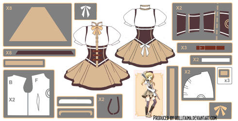 Mami Tomoe ~Magical Dress~ Cosplay Design Draft by Hollitaima