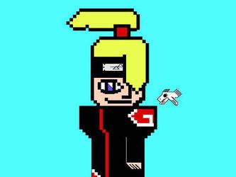 Deidara Pixel by elarteesunaexplosion