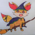 Abigail the Fennekin Witch by Flippedyfrogs