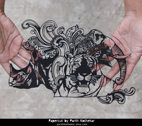 Papercut Art - Indian 10 rupees note by ParthKothekar