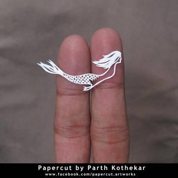 miniature papercut - Mermaid by ParthKothekar