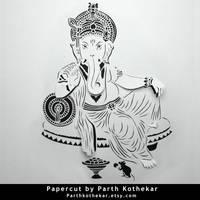 Papercut - Ganesh - Ganpati - Paper - Art - india by ParthKothekar