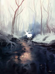 Deer God in Winter by zLrah
